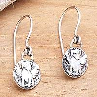 Sterling silver dangle earrings, 'Good Dog' - Angel Dog Sterling Silver Dangle Earrings