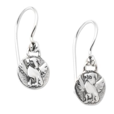 Angel Dog Sterling Silver Dangle Earrings