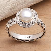Cultured pearl cocktail ring, 'Soul of Amlapura' - Elegant Cultured Pearl and Sterling Silver Ring