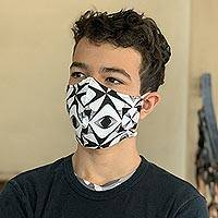 Cotton face masks 'Malioboro Night' (set of 5) - 5 Black and White Print Contoured Double Cotton Face Masks