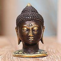 Bronze statuette, 'Bust of Buddha' - Small Bronze Bust of Buddha from Bali