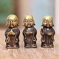 Bronze figurines, 'Buddha Monks' (set of 3) - Three Small Bronze Buddha Monk Figurines