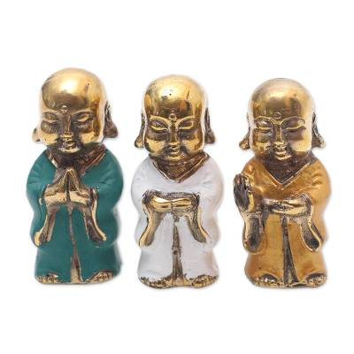 Hand Crafted Set of Buddha Monk Figurines from Bali (3)