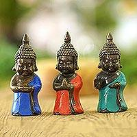 Bronze figurines, 'Baby Buddha Blessings' (set of 3) - Small Bronze Buddha Figurines (Set of 3)