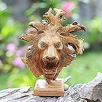 Wood sculpture, 'Emerging Lion' - Benalu Wood Lion Sculpture on Stand