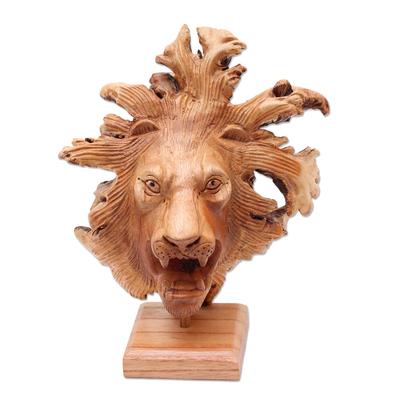 Wood sculpture, 'Emerging Lion' - Benalu Wood Lion Sculpture on Stand