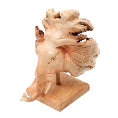 Wood sculpture, 'Emerging Elephant' - Hand Carved Elephant Sculpture on Wood Stand