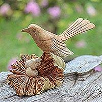 Wood sculpture, 'Nesting Bird' - Nesting Bird Hand Carved Wood Sculpture