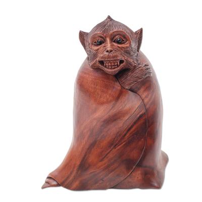 Unique Wood Monkey Sculpture from Bali Artisan
