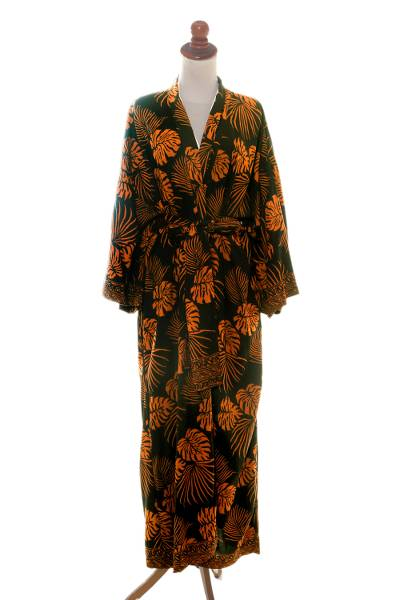 Hand Stamped Black and Spice Rayon Long Robe from Bali