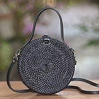 Round woven bamboo shoulder bag, 'Pitch Black' - Black Round Woven Bamboo Shoulder Bag or Handbag