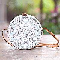 Round woven bamboo shoulder bag, 'White Flower' - White Flower Pattern Round Woven Bamboo Shoulder Bag