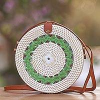 Round woven bamboo and ate grass shoulder bag, 'Green Circuit' - Hand Woven Round Bamboo Shoulder Bag