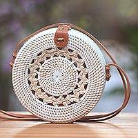 Round woven bamboo and ate grass shoulder bag, 'Natural Circuit' - Ate Grass and Bamboo Round Woven Shoulder Bag