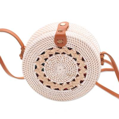Ate Grass and Bamboo Round Woven Shoulder Bag