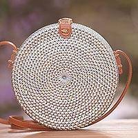 Round woven bamboo shoulder bag, 'Blue-Grey Wheel' - Blue-Grey Woven Bamboo Round Shoulder Bag
