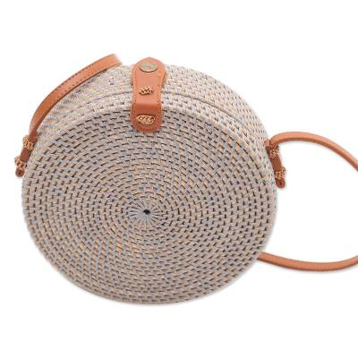 Blue-Grey Woven Bamboo Round Shoulder Bag