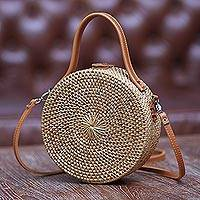 Round natural fiber shoulder bag, Bamboo Wheel (8 inch)