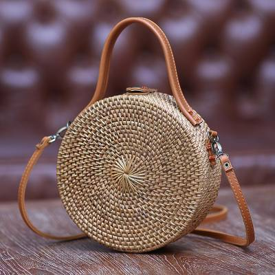 Round woven bamboo and ate grass shoulder bag, 'Brown Wheel' (8 inch) - Round Brown Woven Bamboo Shoulder Bag from Bali (8 inch)
