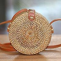 Round woven bamboo and ate grass shoulder bag, 'Brown Wheel' (6 inch) - Brown Round Bamboo and Ate Grass Shoulder Bag (6 Inch)