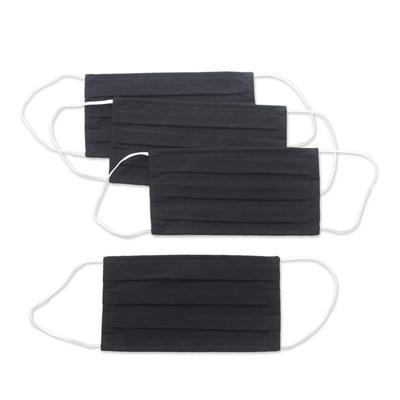Cotton face masks 'Professional Black' (set of 4) - 4 Artisan Crafted Black Cotton Contoured 2 Layer Face Masks