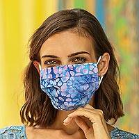 Cotton face masks 'Capricious Color' (set of 4) - 4 Pleated Abstract Cotton Print 2-Layer Face Masks