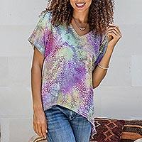 Hi-low rayon blouse, 'Pastel Bubbles' - Pastel Batik Hi-Low Rayon Blouse