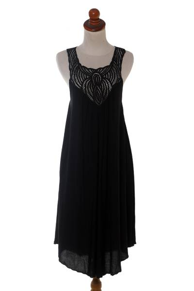 Embroidered cotton dress, 'Drifting Clouds in Black' - Hand Embroidered Black Cotton Dress