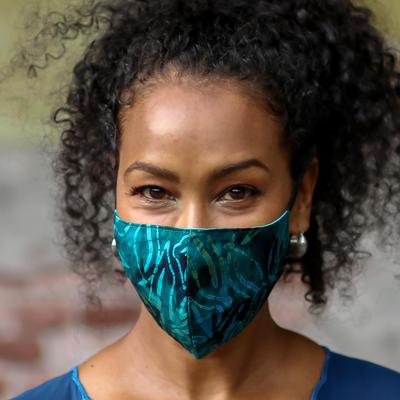 Rayon batik face masks, 'Batik Magic' (set of 3) - Set of 3 Double Layer Rayon Batik Elastic Loop Face Masks