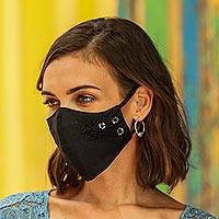 Cotton face masks 'Quiet Floral Trio' (set of 3) - 3 Cotton Contoured Face Masks with Floral Embroidery