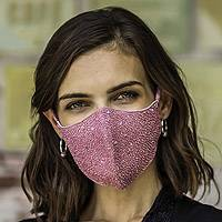 Beaded cotton face masks, 'Feminine Glam' (pair) - 2 Hand Beaded Cotton Contoured Face Masks in Black and Pink
