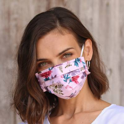 Cotton face masks, Balinese Wildflowers (set of 4)