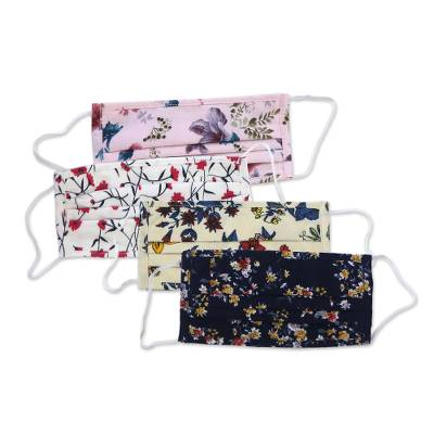 Cotton face masks, 'Balinese Wildflowers' (set of 4) - Four 2-Layer Cotton Wildflower Print Elastic Loop Face Masks
