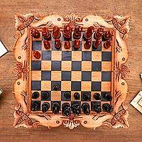 Wood chess set, 'The Sea,'