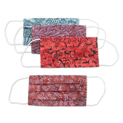 Cotton face masks 'Bright Days' (set of 4) - 4 Artisanal Abstract Cotton Print Pleated Face Mask