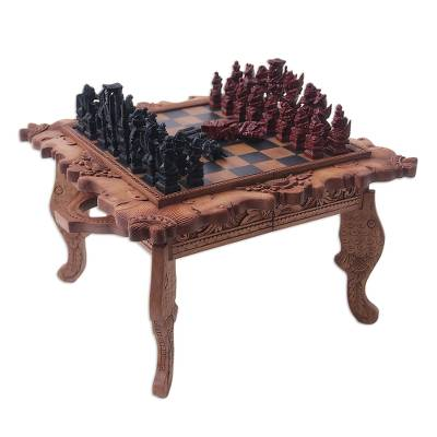 Wood chess set, 'Kingdom Wars' - Sea Life Wood Chess Set