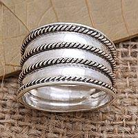 Sterling silver band ring, 'Between the Lines' - Rope Motif Wide Sterling Silver Band RIng