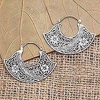 Sterling silver hoop earrings, 'Cape of Flowers' - Sterling Silver Floral Hoop Earrings from Bali
