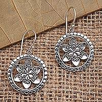 Sterling silver dangle earrings, 'Flower Wheels' - Floral Sterling Silver Dangle Earrings