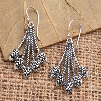 Sterling silver dangle earrings, 'Sukawati Sheaves' - Artisan Crafted Sterling Silver Dangle Earrings