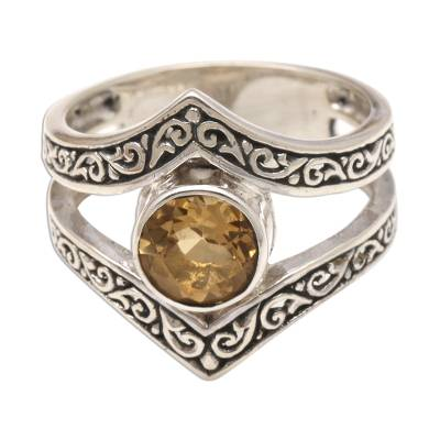 One Carat Citrine and Silver Cocktail Ring