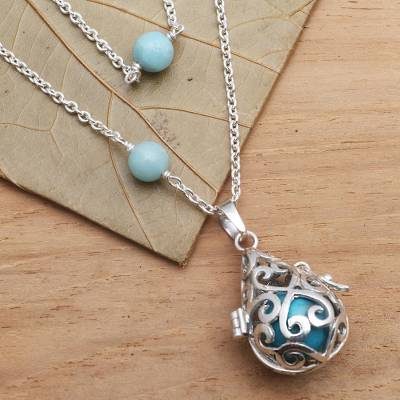 Amazonite harmony ball necklace, Blue Lace Angel Chime