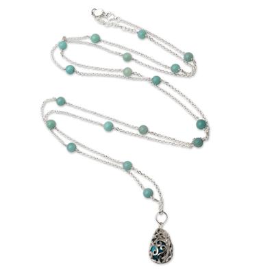 Silver Amazonite and Blue Enamel Harmony Ball Necklace