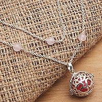 Rose quartz harmony ball necklace, 'Sweet Omkara' - Balinese Silver and Rose Quartz Harmony Ball Necklace