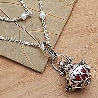 Cultured pearl and garnet harmony ball necklace, 'Love's Purity' - Silver and Cultured Pearl Harmony Ball Necklace with Garnet