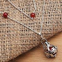 Carnelian and garnet harmony ball necklace, 'Happy Chime' - Silver Carnelian and Garnet Long Harmony Ball Necklace