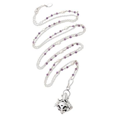Amethyst and cultured pearl harmony ball necklace, 'Angelic Love' - Bali Cultured Pearl & Amethyst Silver Harmony Ball Necklace
