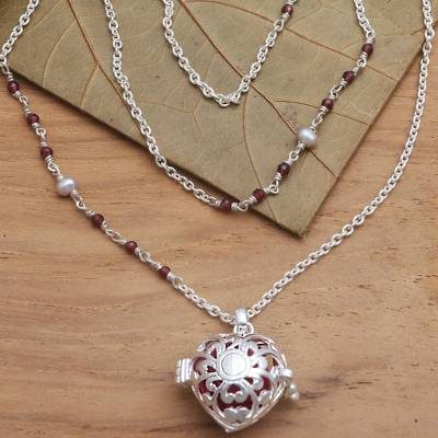 Garnet and cultured pearl harmony ball necklace, 'Angel Lullaby' - Bali Cultured Pearl & Garnet Silver Harmony Ball Necklace