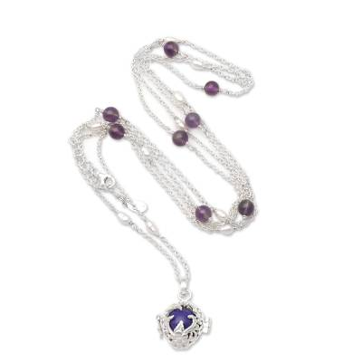 Amethyst and cultured pearl harmony ball necklace, 'Chimes of Comfort' - Silver Harmony Ball Necklace with Cultured Pearl & Amethyst