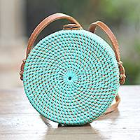 Bamboo shoulder bag, 'Mint Lombok Circle' - Handwoven Mint Bamboo Shoulder Bag with Faux Leather Strap